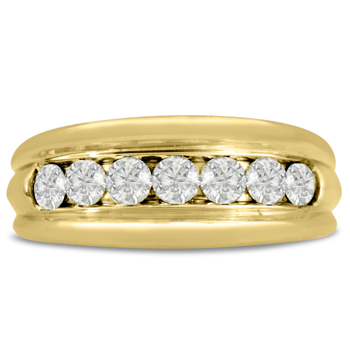 Mens 1 Carat Diamond Wedding Band in 10K Yellow Gold, G-H, I2-I3, 8.97mm Wide by SuperJeweler