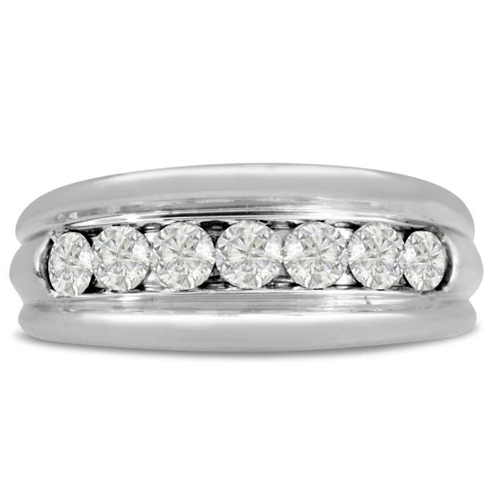 Mens 1 Carat Diamond Wedding Band in 14K White Gold, G-H, I2-I3, 8.97mm Wide by SuperJeweler