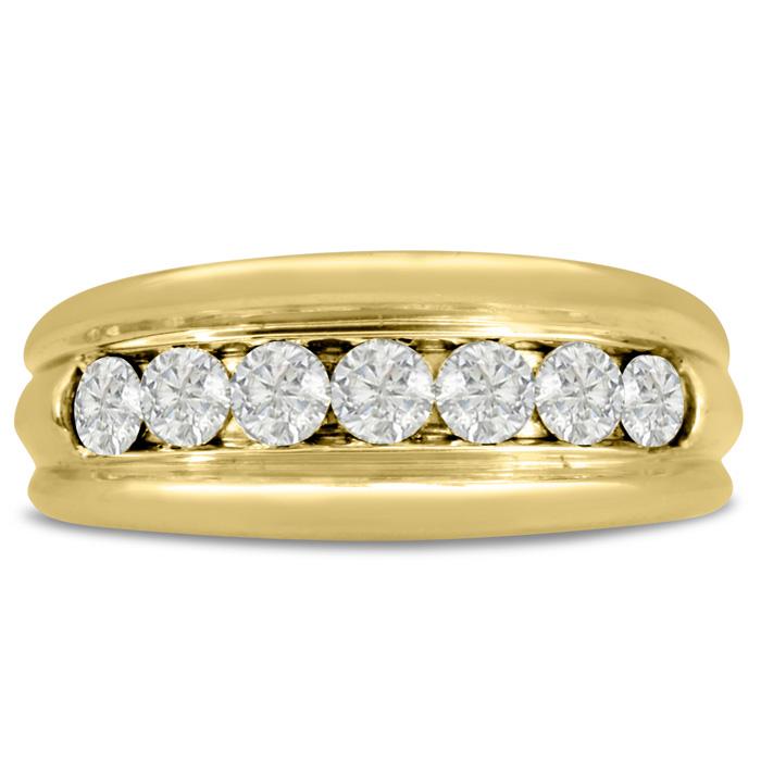 Mens 1 Carat Diamond Wedding Band in 14K Yellow Gold, I-J-K, I1-I2, 8.97mm Wide by SuperJeweler