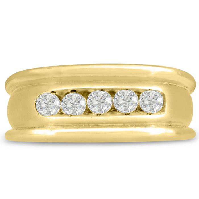 Mens 1/2 Carat Diamond Wedding Band in 10K Yellow Gold, I-J-K, I1-I2, 9.23mm Wide by SuperJeweler
