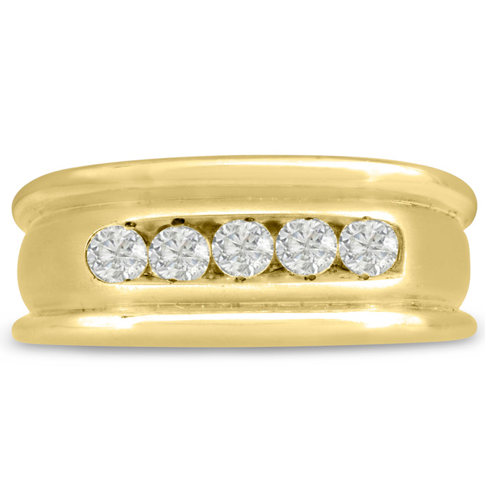 Mens 1/2 Carat Diamond Wedding Band in 14K Yellow Gold, G-H, I2-I