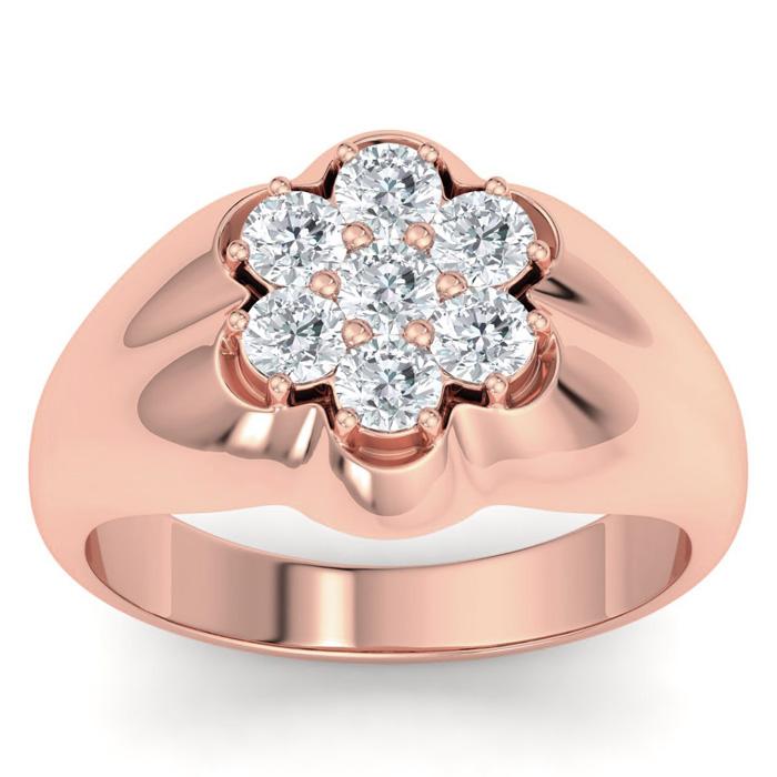 Mens 1 Carat Diamond Wedding Band in 10K Rose Gold, I-J-K, I1-I2, 14.46mm Wide by SuperJeweler