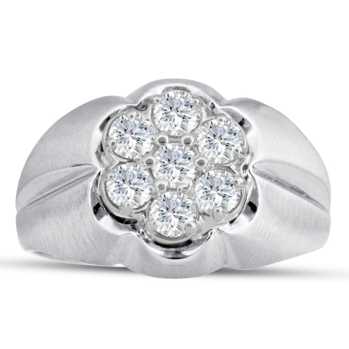 Mens 1 Carat Diamond Wedding Band in 10K White Gold, I-J-K, I1-I2, 14.46mm Wide by SuperJeweler