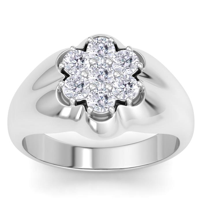 Mens 1 Carat Diamond Wedding Band in 14K White Gold, I-J-K, I1-I2, 14.46mm Wide by SuperJeweler