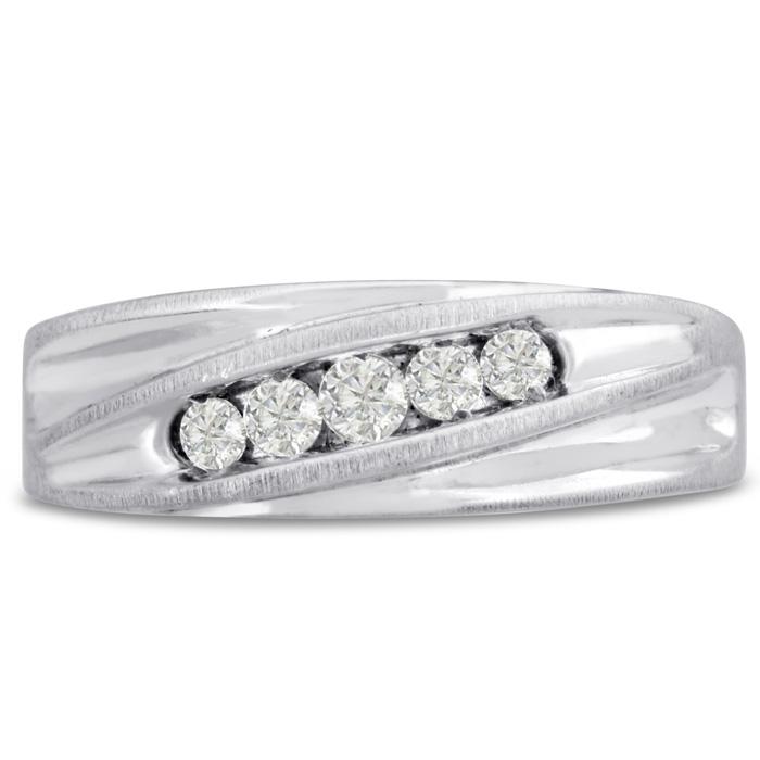 Mens 1/4 Carat Diamond Wedding Band in 10K White Gold, G-H, I2-I3, 7.30mm Wide by SuperJeweler