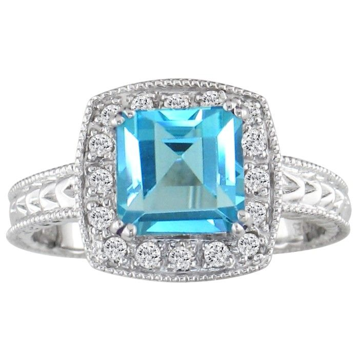 Blue Topaz and 1/5ct Engraved Diamond Ring in 10k White Gold