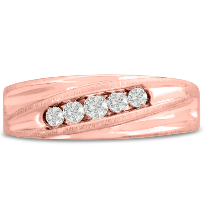 Mens 1/4 Carat Diamond Wedding Band in 14K Rose Gold, G-H, I2-I3, 7.30mm Wide by SuperJeweler