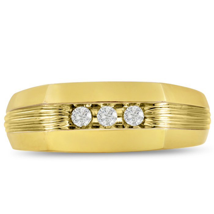 Mens 1/10 Carat Diamond Wedding Band in 10K Yellow Gold, G-H, I2-I3, 7.66mm Wide by SuperJeweler