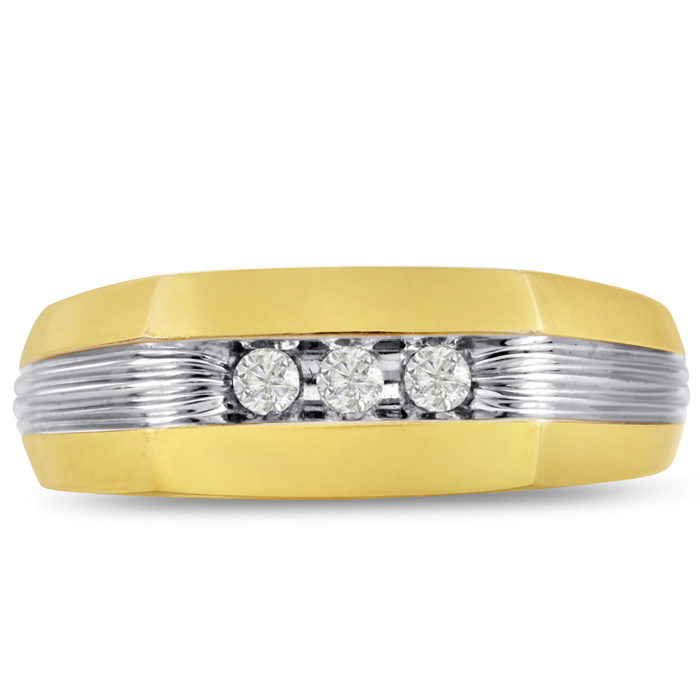 Mens 1/10 Carat Diamond Wedding Band in 14K Two-Tone Gold, G-H, I2-I3, 7.66mm Wide by SuperJeweler