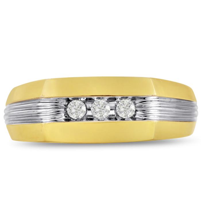 Mens 1/10 Carat Diamond Wedding Band in 14K Two-Tone Gold, I-J-K,
