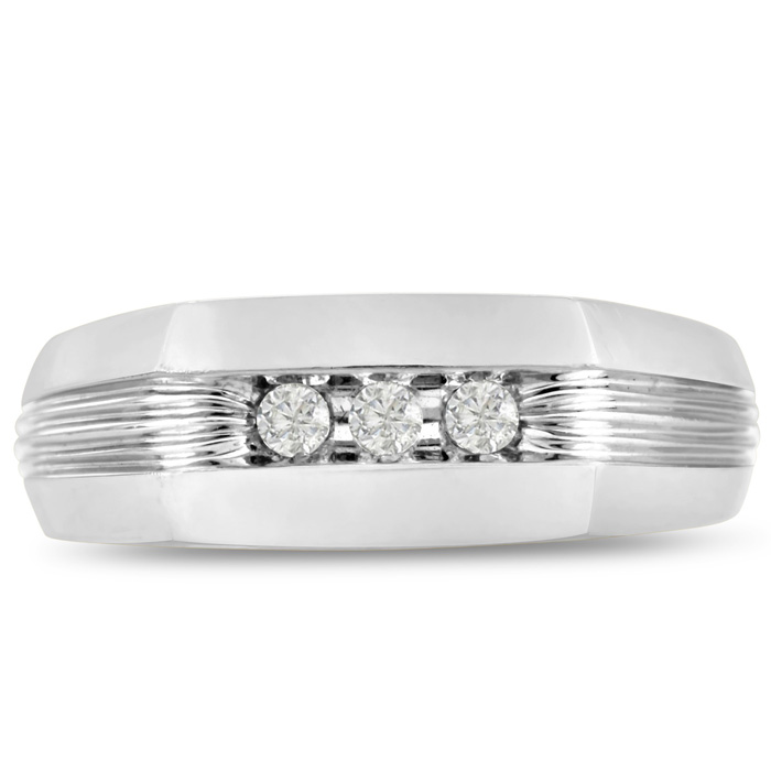 Mens 1/10 Carat Diamond Wedding Band in 14K White Gold, I-J-K, I1-I2, 7.66mm Wide by SuperJeweler