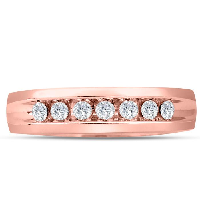 Mens 1/2 Carat Diamond Wedding Band in 10K Rose Gold, I-J-K, I1-I2, 5.66mm Wide by SuperJeweler
