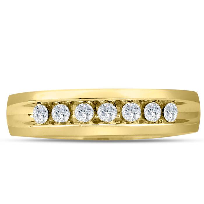 Mens 1/2 Carat Diamond Wedding Band in 10K Yellow Gold, G-H, I2-I3, 5.66mm Wide by SuperJeweler