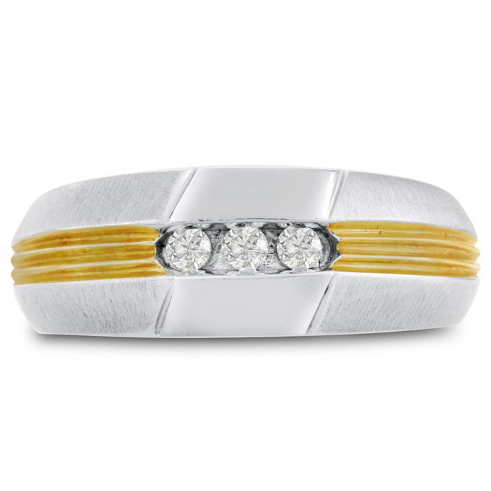 Mens 1/10 Carat Diamond Wedding Band in 14K Two-Tone Gold, G-H, I