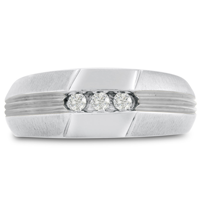 Mens 1/10 Carat Diamond Wedding Band in 14K White Gold, I-J-K, I1-I2, 8.47mm Wide by SuperJeweler