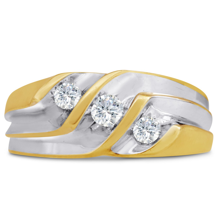 Mens 1/2 Carat Diamond Wedding Band in 14K Two-Tone Gold, I-J-K,