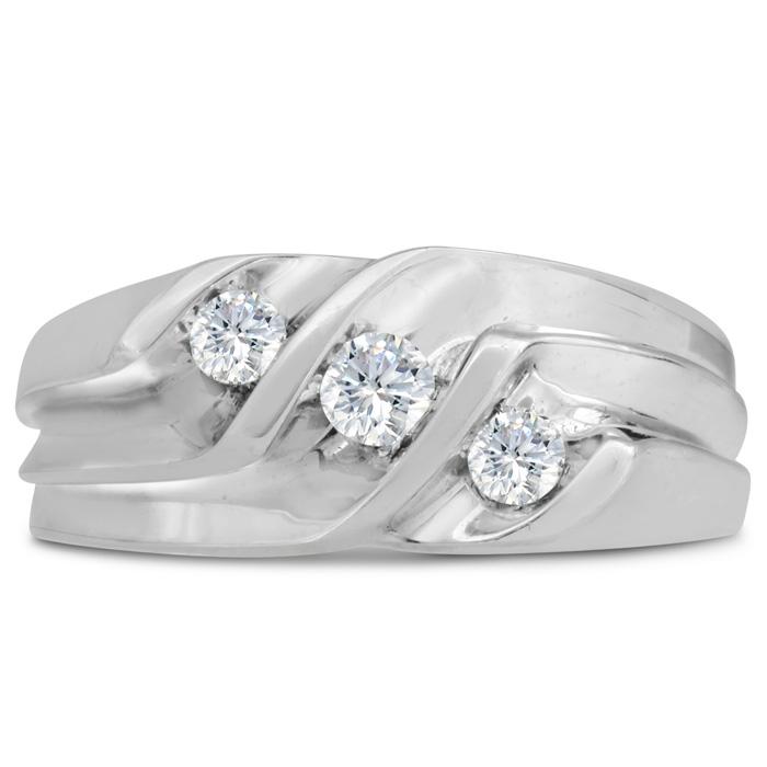 Mens 1/2 Carat Diamond Wedding Band in 14K White Gold, I-J-K, I1-I2, 9.40mm Wide by SuperJeweler