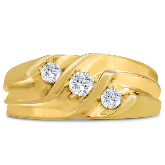Mens 1/2 Carat Diamond Wedding Band in 14K Yellow Gold, G-H, I2-I