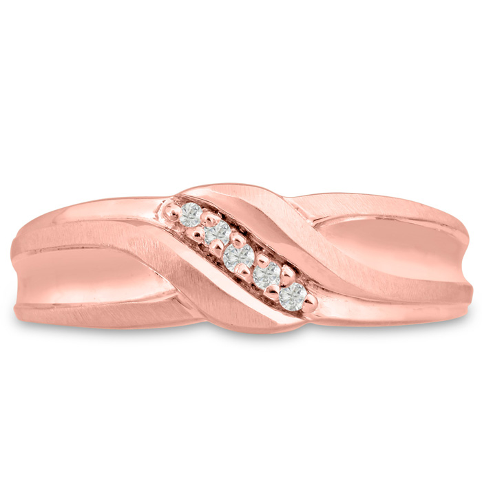 Mens 1/10 Carat Diamond Wedding Band in 14K Rose Gold, I-J-K, I1-