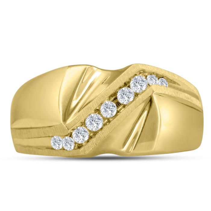 Mens 1/4 Carat Diamond Wedding Band in 10K Yellow Gold, I-J-K, I1-I2, 9.57mm Wide by SuperJeweler