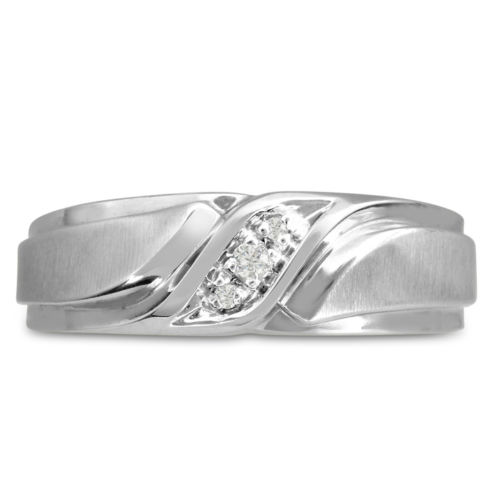 Mens 1/10 Carat Diamond Wedding Band in 14K White Gold, I-J-K, I1