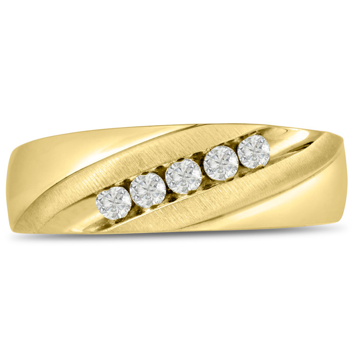 Mens 1/4 Carat Diamond Wedding Band in 10K Yellow Gold, G-H, I2-I3, 6.89mm Wide by SuperJeweler
