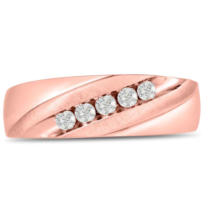 Mens 1/4 Carat Diamond Wedding Band in 14K Rose Gold, I-J-K, I1-I2, 6.89mm Wide by SuperJeweler