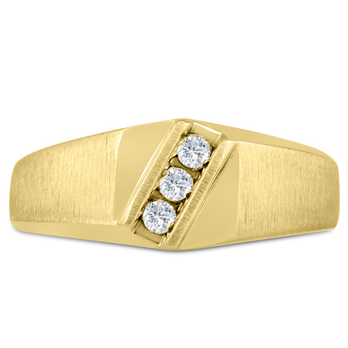 Mens 1/10 Carat Diamond Wedding Band in 10K Yellow Gold, G-H, I2-