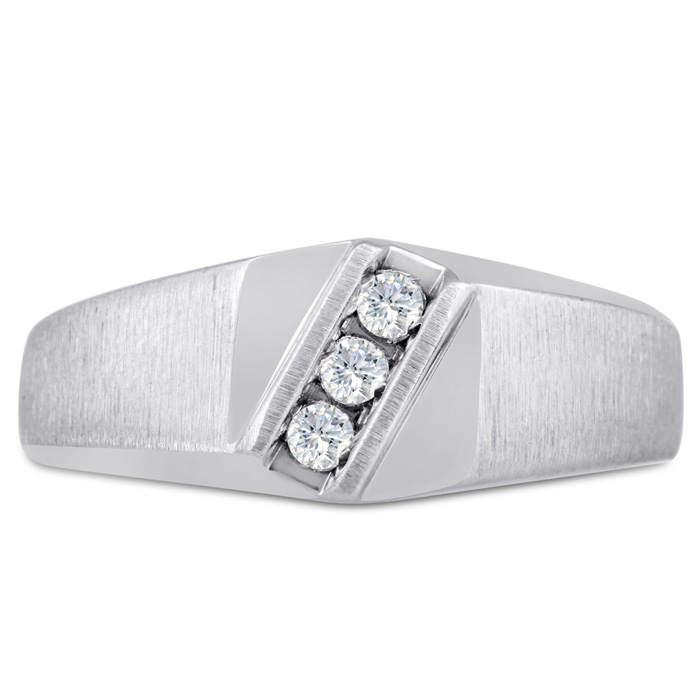 Mens 1/10 Carat Diamond Wedding Band in 14K White Gold, G-H, I2-I