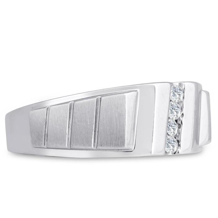 Mens 1/10 Carat Diamond Wedding Band in 10K White Gold, I-J-K, I1-I2, 8.66mm Wide by SuperJeweler