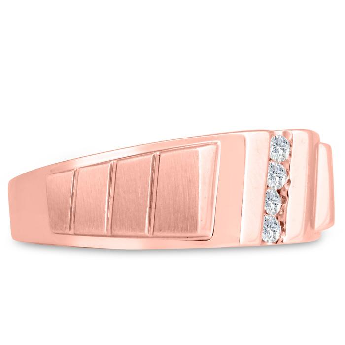 Mens 1/10 Carat Diamond Wedding Band in 14K Rose Gold, G-H, I2-I3, 8.66mm Wide by SuperJeweler