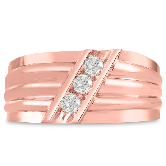 Mens 1/4 Carat Diamond Wedding Band in 10K Rose Gold, G-H, I2-I3,