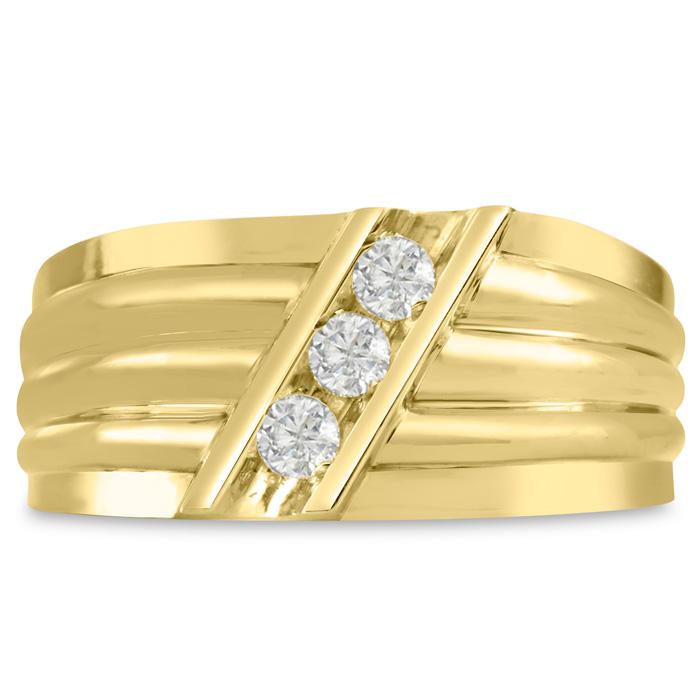 Mens 1/4 Carat Diamond Wedding Band in 14K Yellow Gold, I-J-K, I1-I2, 10.20mm Wide by SuperJeweler