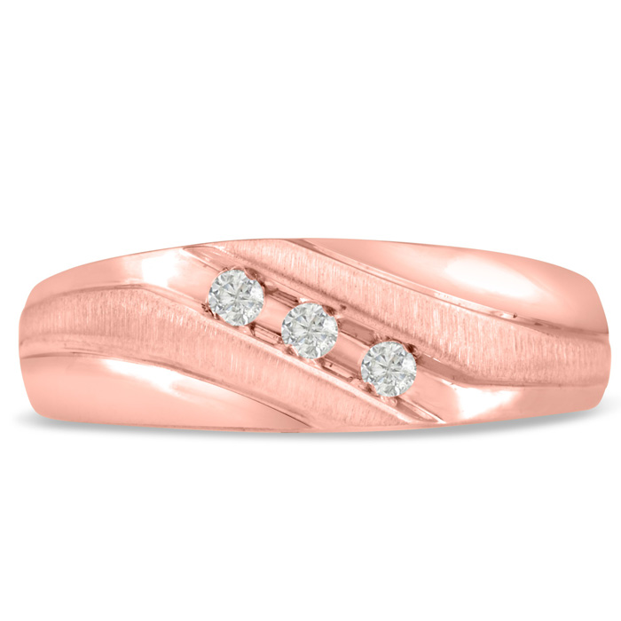 Mens 1/10 Carat Diamond Wedding Band in 10K Rose Gold, I-J-K, I1-
