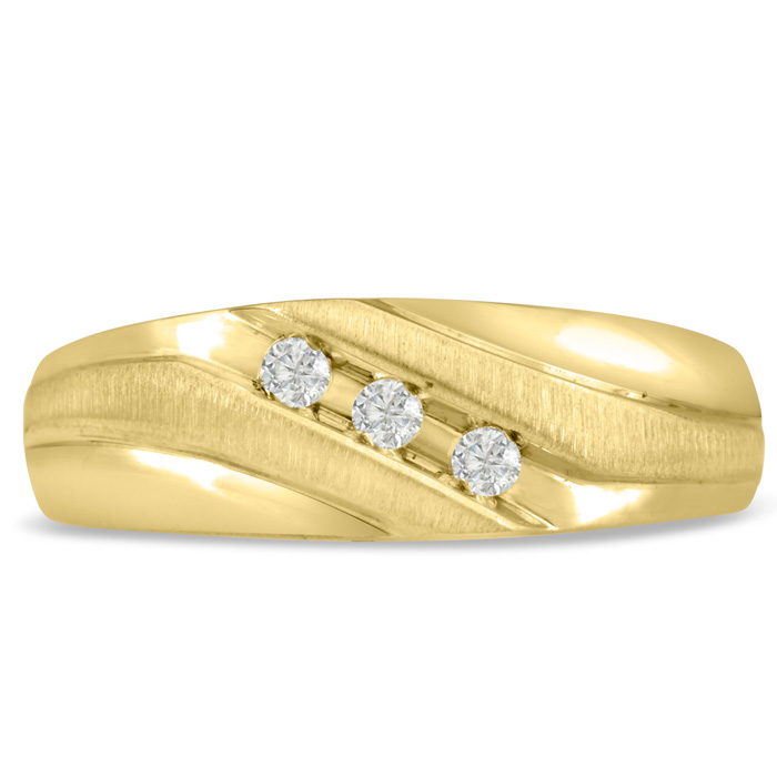 Mens 1/10 Carat Diamond Wedding Band in 10K Yellow Gold, G-H, I2-I3, 7.60mm Wide by SuperJeweler