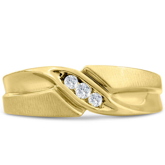 Mens 1/10 Carat Diamond Wedding Band in 10K Yellow Gold, I-J-K, I1-I2, 6.73mm Wide by SuperJeweler