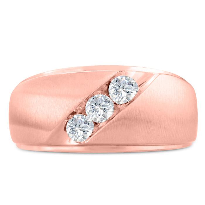 Mens 1/2 Carat Diamond Wedding Band in 14K Rose Gold, G-H, I2-I3, 11.02mm Wide by SuperJeweler