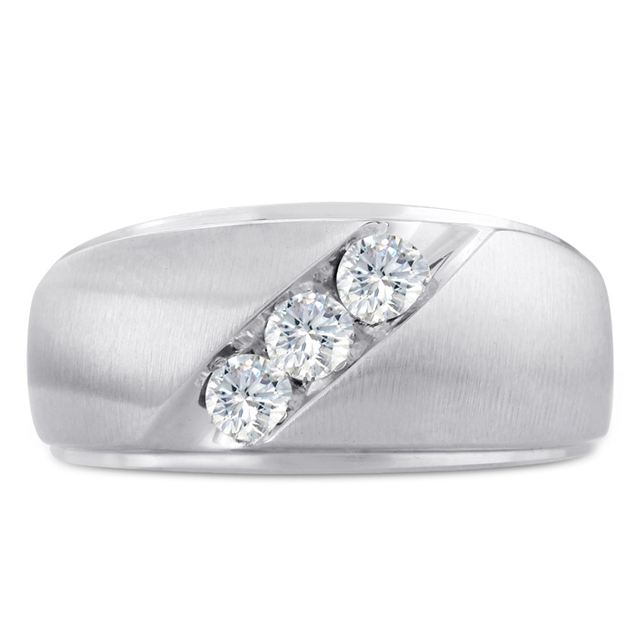 Mens 1/2 Carat Diamond Wedding Band in 14K White Gold, G-H, I2-I3