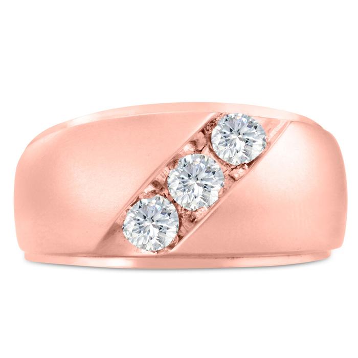 Mens 3/4 Carat Diamond Wedding Band in 10K Rose Gold, G-H, I2-I3, 11.66mm Wide by SuperJeweler