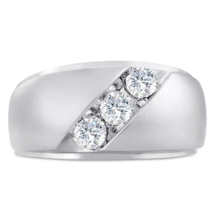Mens 3/4 Carat Diamond Wedding Band in 14K White Gold, I-J-K, I1-I2, 11.66mm Wide by SuperJeweler