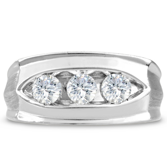 Mens 1 Carat Diamond Wedding Band in 14K White Gold, I-J-K, I1-I2
