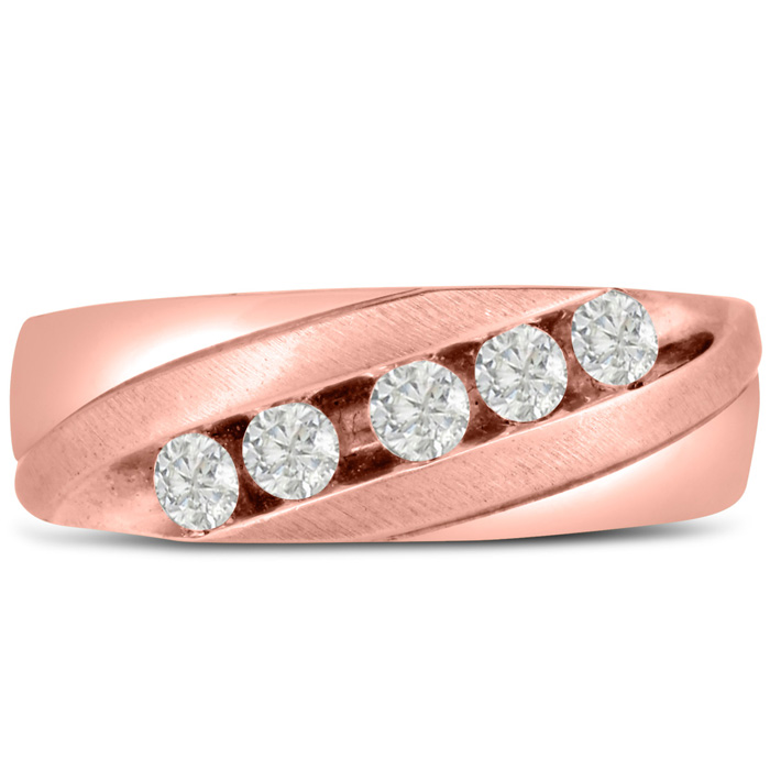 Mens 1/2 Carat Diamond Wedding Band in 10K Rose Gold, G-H, I2-I3,
