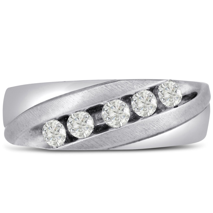 Mens 1/2 Carat Diamond Wedding Band in 10K White Gold, I-J-K, I1-I2, 7.81mm Wide by SuperJeweler