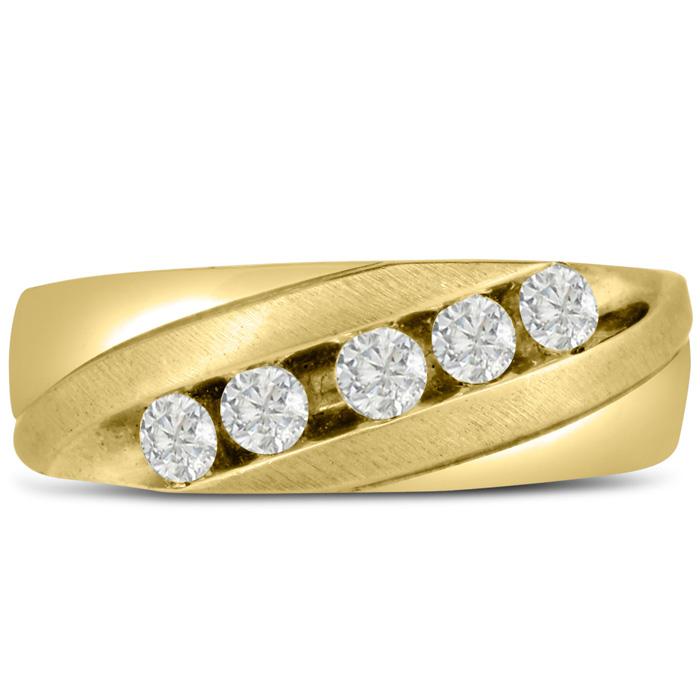 Mens 1/2 Carat Diamond Wedding Band in 14K Yellow Gold, I-J-K, I1