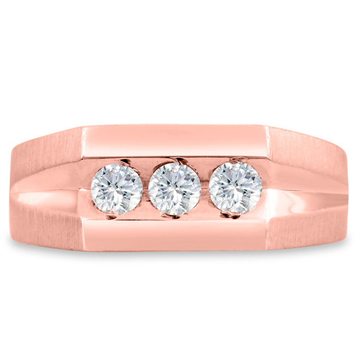 Mens 1/2 Carat Diamond Wedding Band in 14K Rose Gold, I-J-K, I1-I