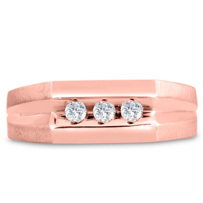 Mens 1/4 Carat Diamond Wedding Band in 10K Rose Gold, G-H, I2-I3, 7.75mm Wide by SuperJeweler