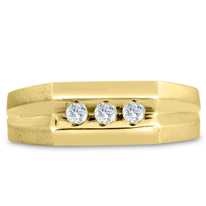 Mens 1/4 Carat Diamond Wedding Band in 10K Yellow Gold, G-H, I2-I3, 7.75mm Wide by SuperJeweler