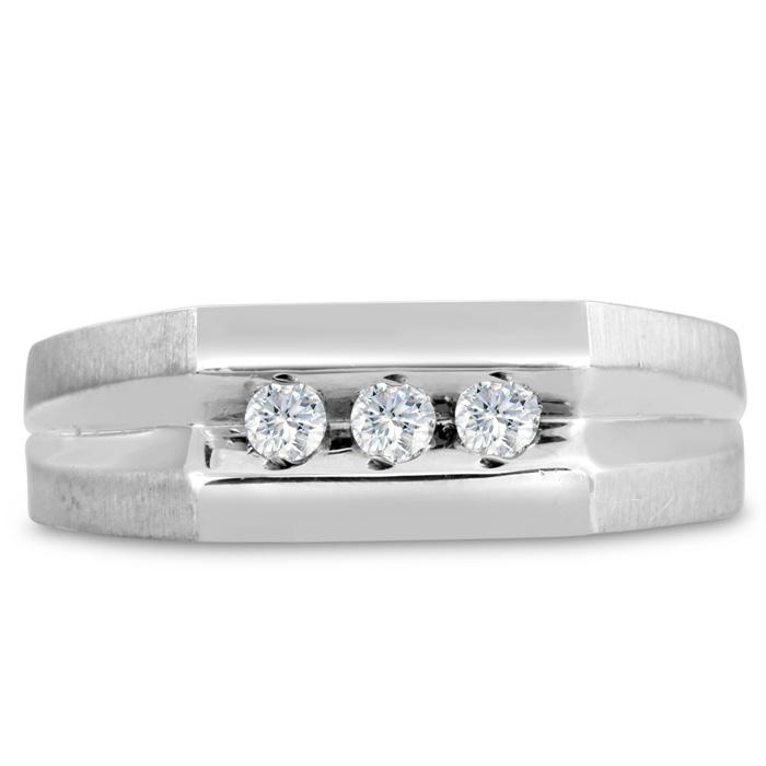 Mens 1/4 Carat Diamond Wedding Band in 14K White Gold, I-J-K, I1-