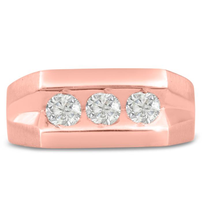 Mens 1 Carat Diamond Wedding Band in 10K Rose Gold, I-J-K, I1-I2, 9.49mm Wide by SuperJeweler