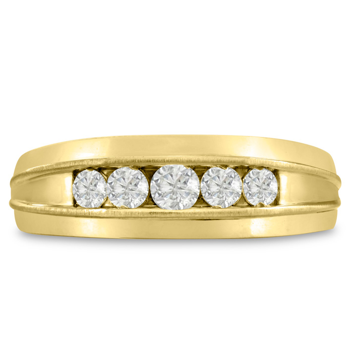 Mens 1/2 Carat Diamond Wedding Band in 10K Yellow Gold, G-H, I2-I3, 7.34mm Wide by SuperJeweler